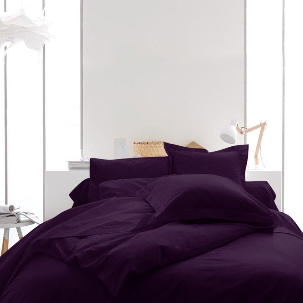 Housse de couette unie - 220 x 240 cm - 100% coton - Différents coloris : Couleur:Deep purple