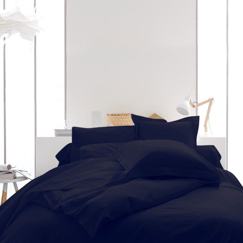 Housse de couette unie - 220 x 240 cm - 100% coton - Différents coloris : Couleur:Ciel d'orage