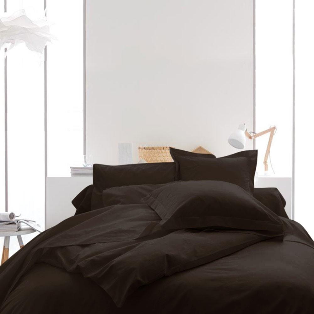 Housse de couette unie - 240 x 260 cm - 100% coton - Différents coloris : Couleur:Cacao