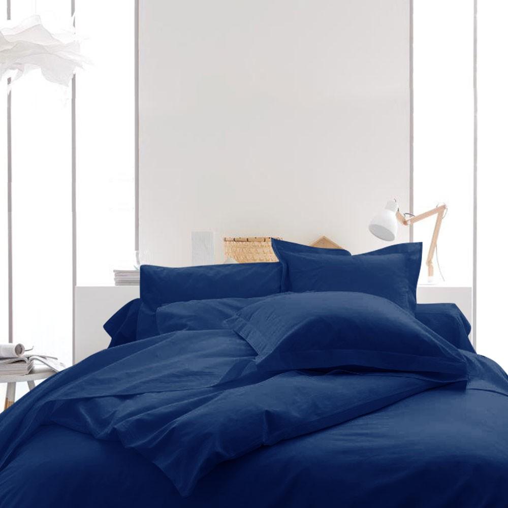 Housse de couette unie - 240 x 260 cm - 100% coton - Différents coloris : Couleur:Indigo