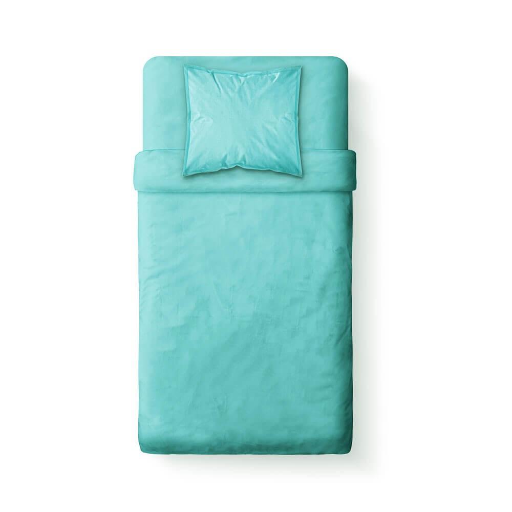 Housse de couette unie - 140 x 200 cm - 100% coton - Différents coloris : Couleur:Portofino