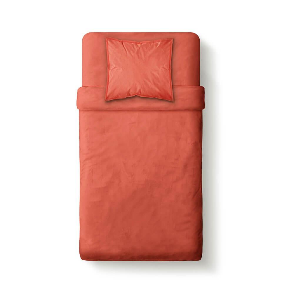 Housse de couette unie - 140 x 200 cm - 100% coton - Différents coloris : Couleur:Corail