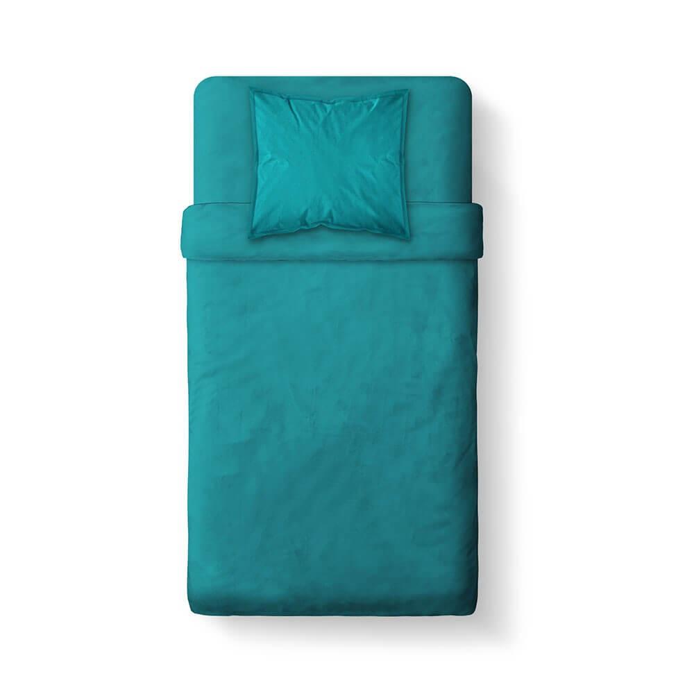 Housse de couette unie - 140 x 200 cm - 100% coton - Différents coloris : Couleur:Mer du sud