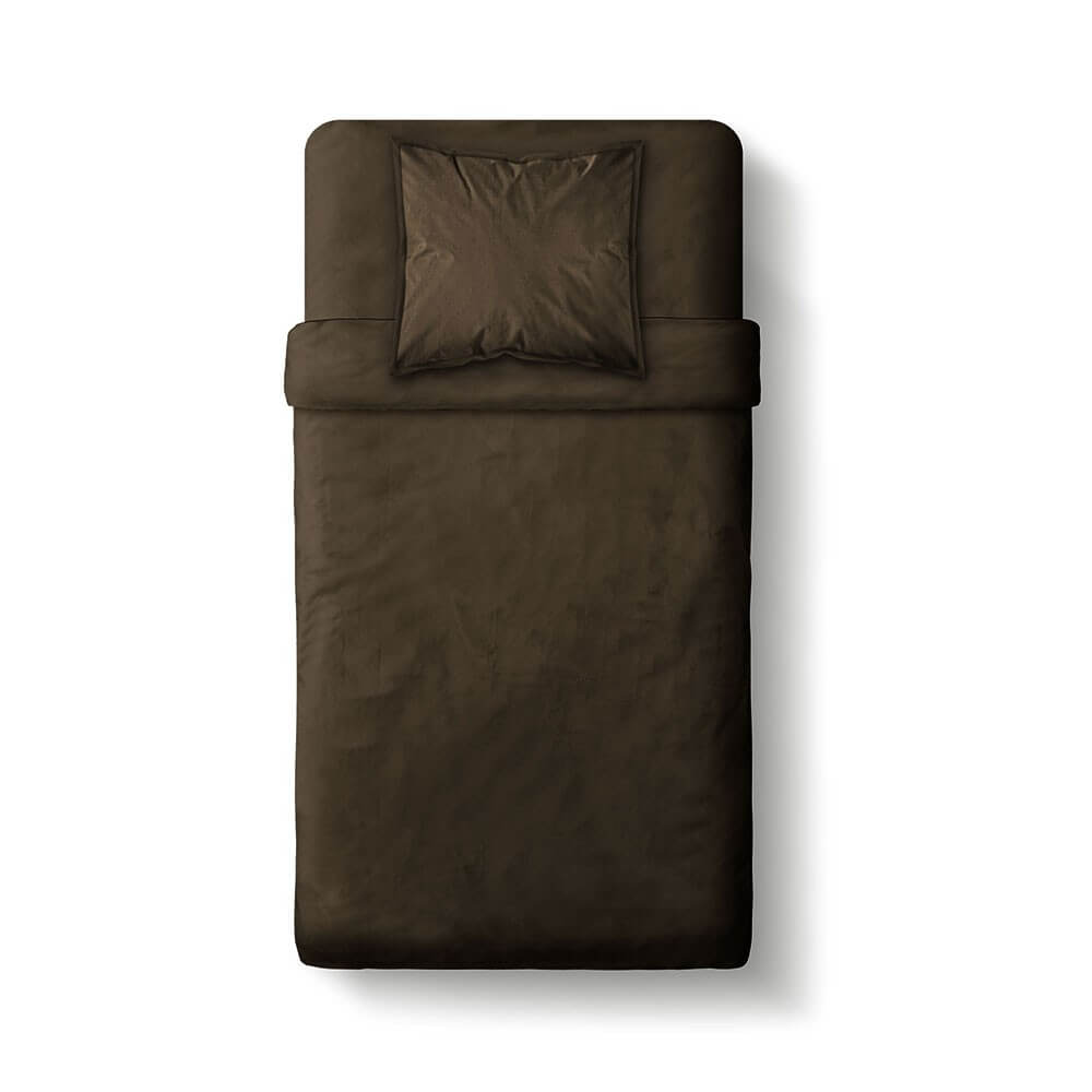 Housse de couette unie - 140 x 200 cm - 100% coton - Différents coloris : Couleur:Cacao