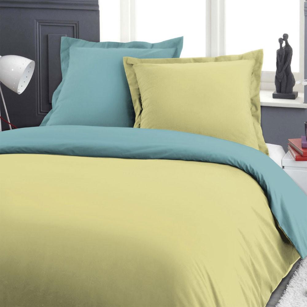 Housse de couette - 240 x 260 cm + taies - Barboncino - Bicolore - Différents coloris : Couleur:Tilleul