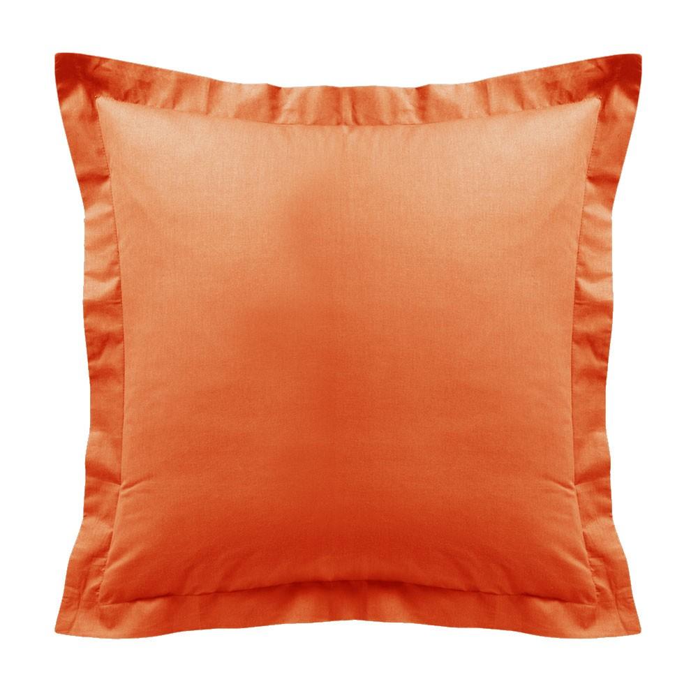 Taie d'oreiller - Carrée - 60 x 60 cm - Différents coloris : Couleur:Mandarine