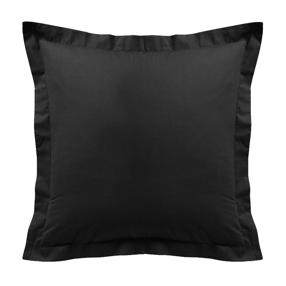 Taie d'oreiller - Carrée - 60 x 60 cm - Différents coloris : Couleur:Réglisse