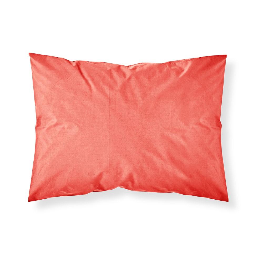 Taie d'oreiller rectangle - 50 x 70 cm - Différents coloris : Couleur:Corail