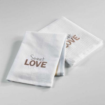 2 torchons - 50 x 70 cm - Coton - Tissés / Nid d'abeilles - Hearty, sweet love