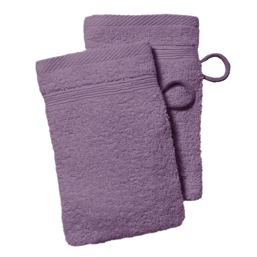 lot de 2 gants de toilette - 500 gr/m² - 16 x 21 cm - Today : Couleur:Figue