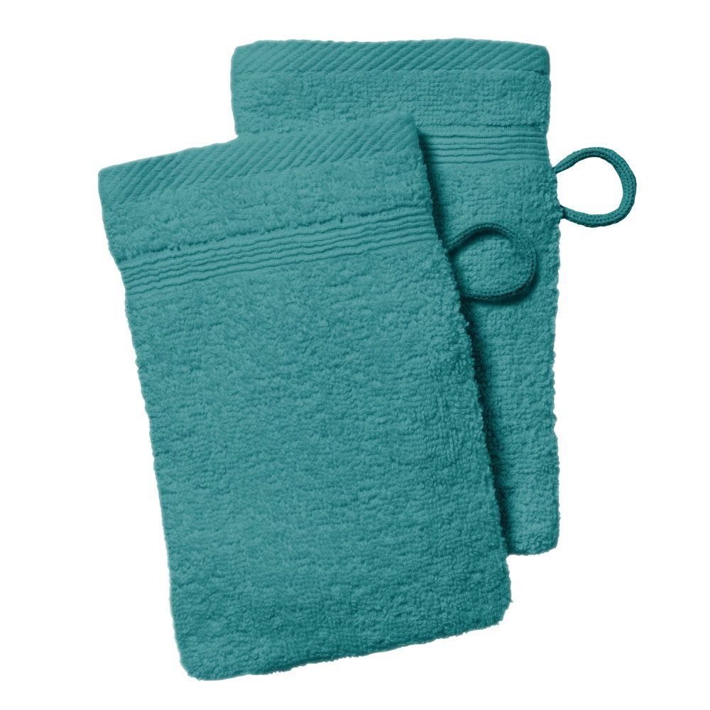 lot de 2 gants de toilette - 500 gr/m² - 16 x 21 cm - Today : Couleur:Mer du sud
