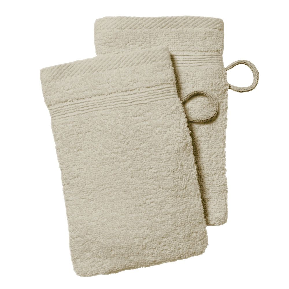lot de 2 gants de toilette - 500 gr/m² - 16 x 21 cm - Today : Couleur:Mastic