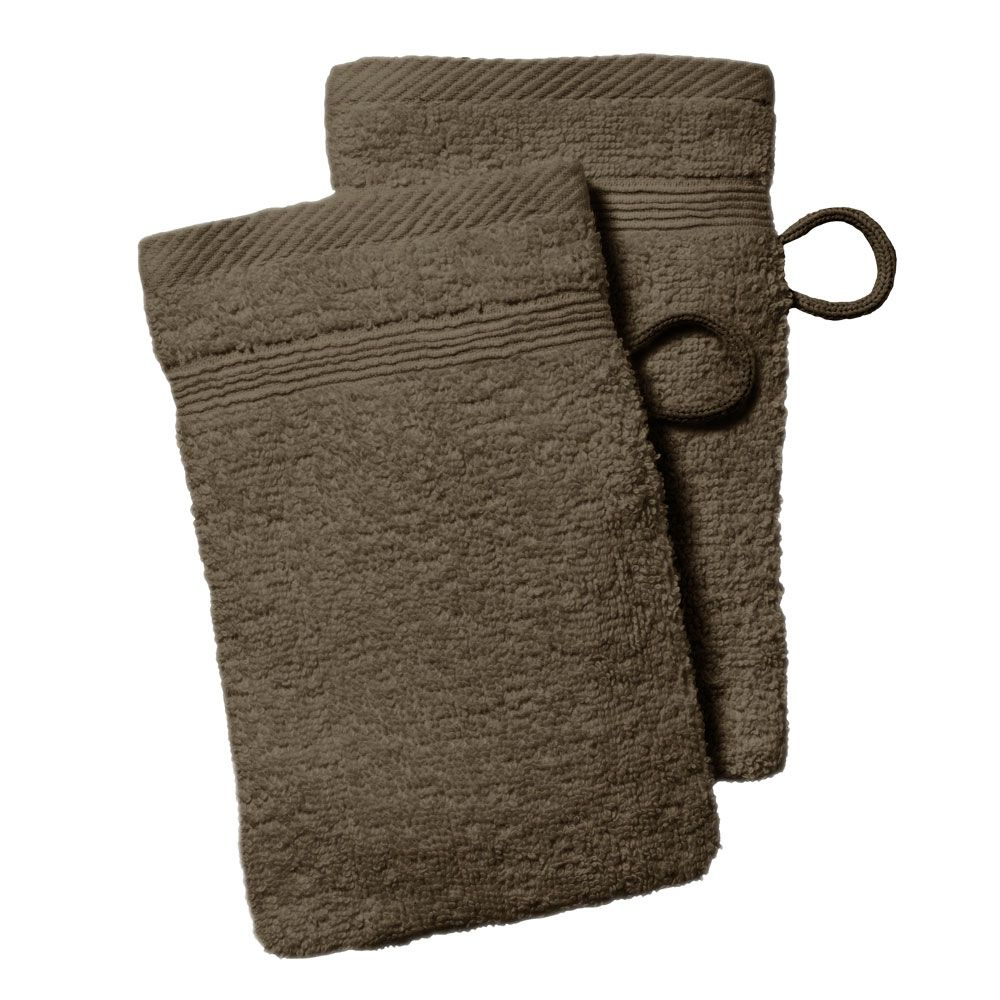 lot de 2 gants de toilette - 500 gr/m² - 16 x 21 cm - Today : Couleur:Bronze