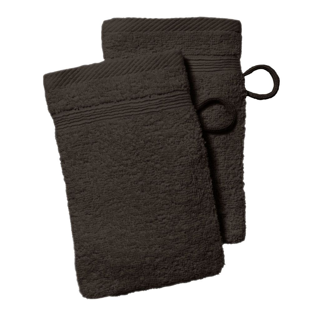 lot de 2 gants de toilette - 500 gr/m² - 16 x 21 cm - Today : Couleur:Cacao