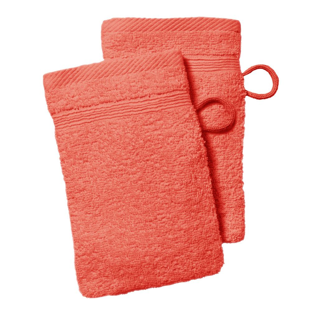lot de 2 gants de toilette - 500 gr/m² - 16 x 21 cm - Today : Couleur:Corail