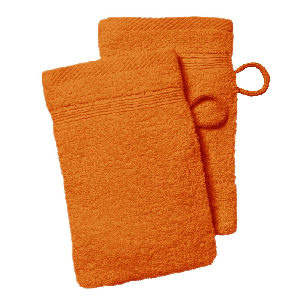 lot de 2 gants de toilette - 500 gr/m² - 16 x 21 cm - Today : Couleur:Mandarine