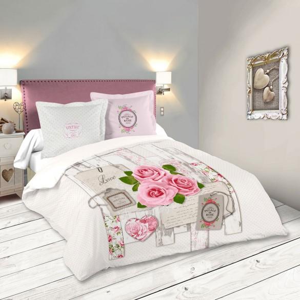 Housse de couette - 220 x 240 cm + Taies - Capeline, rose romantique