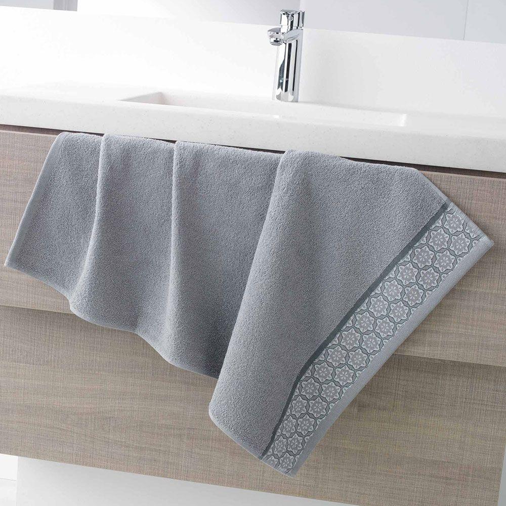 Serviette de toilette - 50 x 90 - Éponge - Adélie - Différents coloris : Couleur:Gris