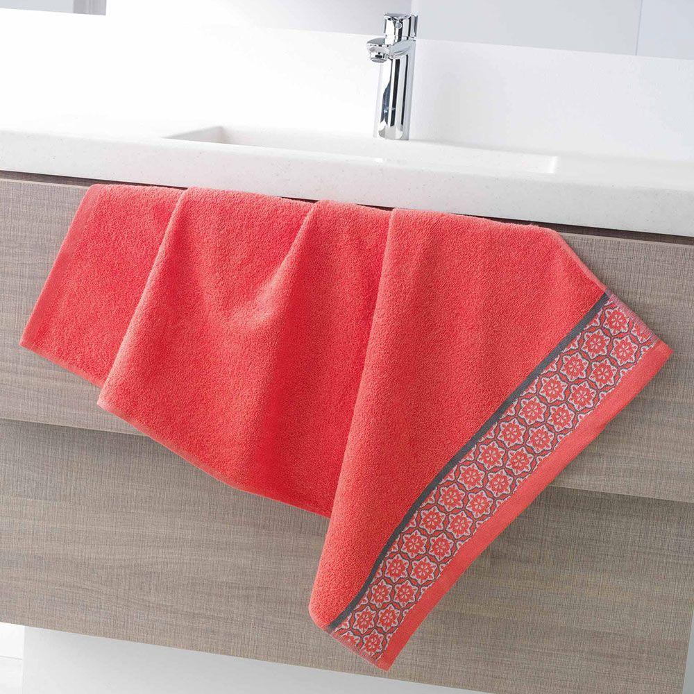 Serviette de toilette - 50 x 90 - Éponge - Adélie - Différents coloris : Couleur:Corail