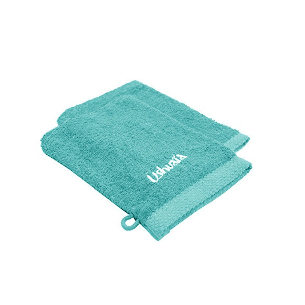 Lot de 2 gants de toilette - 15 x 21 - éponge - Brodé Ushuaïa - Différents coloris : Couleur:Bleu